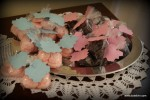 "I made sweet mints and chocolates for favors. Each tag was embossed with ""Thank You"" on my handy Cuttlebug."