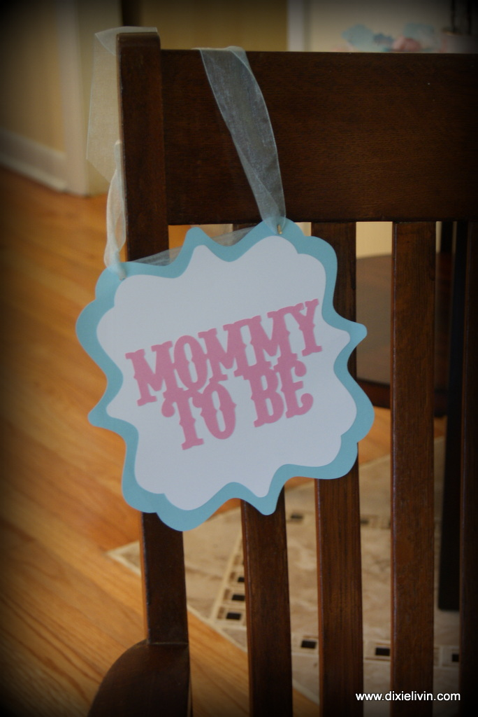 A simple sign designed from the Baby Shower Cricut cartridge.